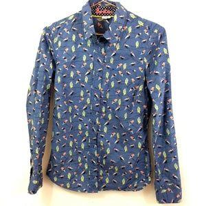 Boden Blue Bird on a Branch Women's Button Up Sz 2